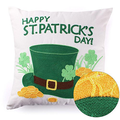 St Patricks Day Throw Pillow Covers Memorial Practical Embroidered Lucky Irish Hat Shamrock Clover Gold Cotton Canvas Deco Cushion Cover 18x18 Inch, White,St Patricks Day (Irish Memorial)