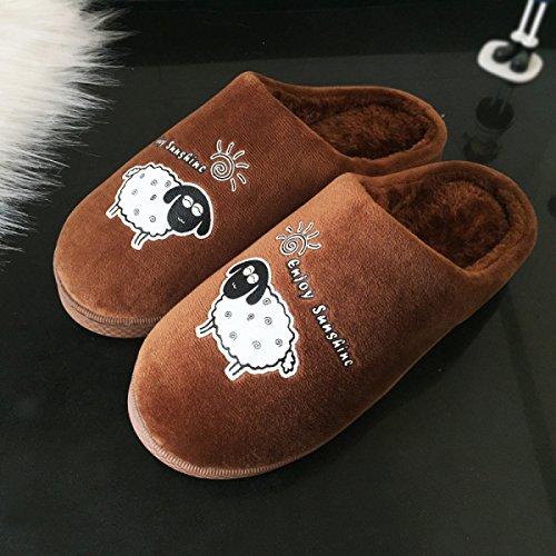 Intérieur Pantoufles Fourrure Anti Hiver slip Nouveau Coffee Imperméable Pantoufles En Red Coton PU Coton Tow Coton Sur Couple Chaud Accueil O8zqzxn