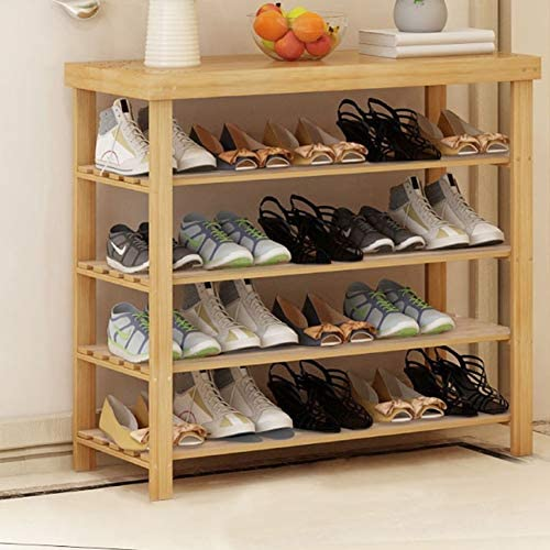 Shoes rack 4-layer Bamboo, Multi-functional Space Saving, Change Shoe Bench (Size : Length 90cm)