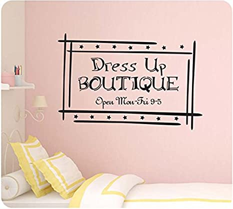 Amazon Com 24 Girl Dress Up Boutique Store Sign Make Believe Wall Decal Sticker Art Mural Home Decor Home Kitchen