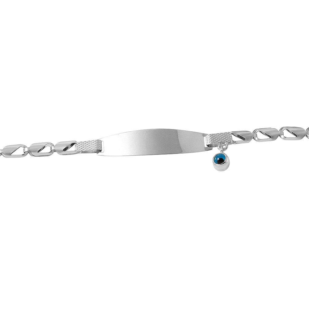 Polished 14k White Gold Dainty Blue Evil Eye Baby Bracelet 6''