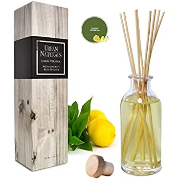 Urban Naturals Lemon Verbena Reed Diffuser Oil Set with Reed Sticks | Tart, Citrus with Fruity Notes of Bergamot & Greens | Makes a Cheerful Gift Idea | Made in The USA