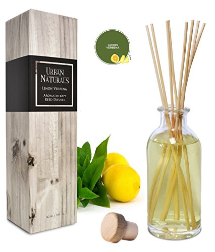 Urban Naturals Lightning Deal Lemon Verbena Reed Diffuser Oil Set with Reed Sticks | Tart, Citrus with fruity notes of Bergamot & Greens | Makes a Cheerful Gift Idea | Made in the USA by Urban Naturals