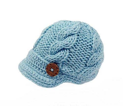Bestknit Baby Boys Crochet Knit Newsboy cap Photography Brim Buttons Hat Samll Blue -