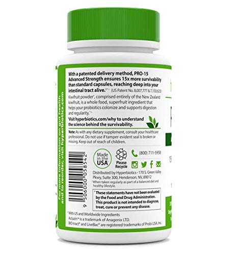 PRO-15 Advanced Strength Probiotics: 3x the CFU Count with Kiwi Extract – 15 Strains – 30 Once Daily Tablets – 15x More Effective than Capsules with Patented Delivery Technology