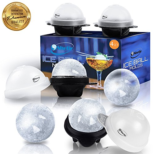 Unique Ice Ball Maker Sphere Mold - 4 Pack - Round Ice Cube Molds - Make Large 2.5-inch Ice Cube Balls - Lightweight, Flexible & Durable Spherical Silicone Ice Tray (Sphere Mold Ice)