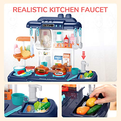 CUTE STONE Little Kitchen Playset, Kids Play Kitchen with Realistic Lights & Sounds,Simulation of Spray, Play Sink with Running Water,Dessert Shelf Toy & Other Kitchen Accessories Set for Girls Boys