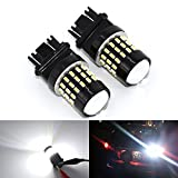 KATUR 2pcs Super Bright 3157 3047 3057 3057A 3155 3157A 3014 54SMD Lens LED Replacement Bulbs Turn Brake Signal Tail Back Up Stop Parking RV Lights 3.1W DC 12V White