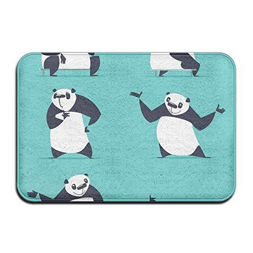 Cartoon Panda Set Home Door Mat Super Absorbent Non Slip Front Floor Mat,Soft Coral Memory Foam Carpet Bathroom Rubber Entrance Rugs for Indoor Outdoor ()