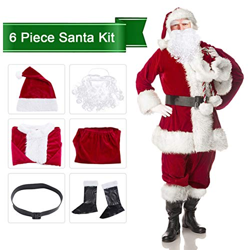 (Christmas Santa Claus Costume Set Men's Deluxe Santa)
