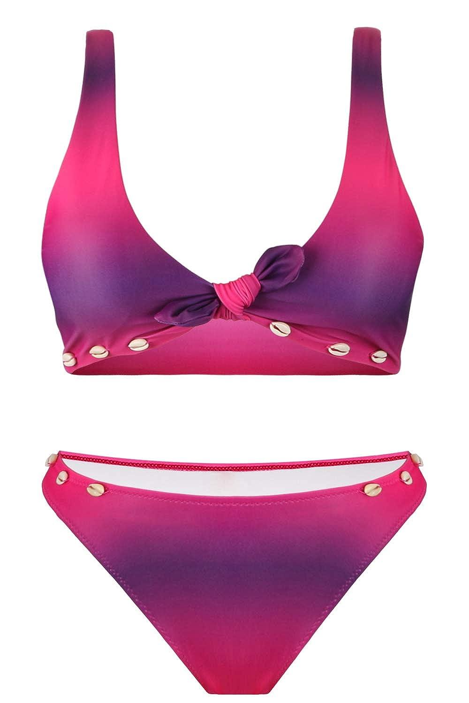 Hotelvs Damen Farbverlauf Krawattenknoten Front Hochdr/ücken Bikini-Set Schale Zweiteilige Badeanz/üge