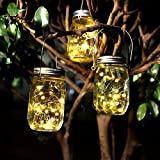 Solar Jar Waterproof Stainless Steel Fairy Light Lantern Ornamental Glass Jars Holiday Ceremony Decorations (Warm White 1Pack)