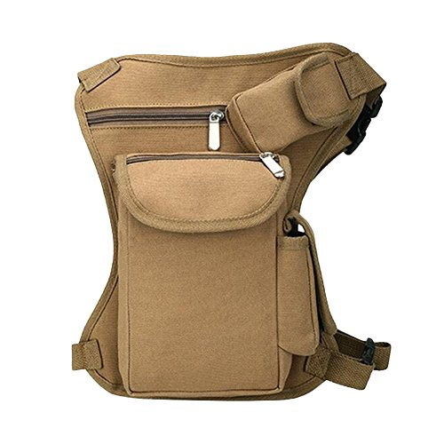 Tactical Leg Bag  Canvas Fanny Pack Bike Cycling Hip Bag  Khaki