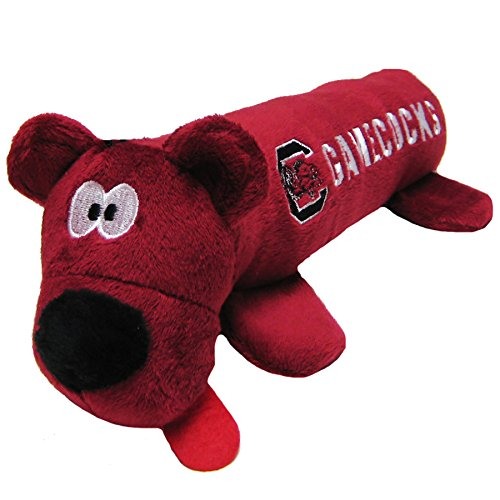 (NCAA South Carolina Gamecocks Tube Toy for Dogs & Cats. Soft Plush Fun Pet Toy with Two Inner SQUEAKERS.)