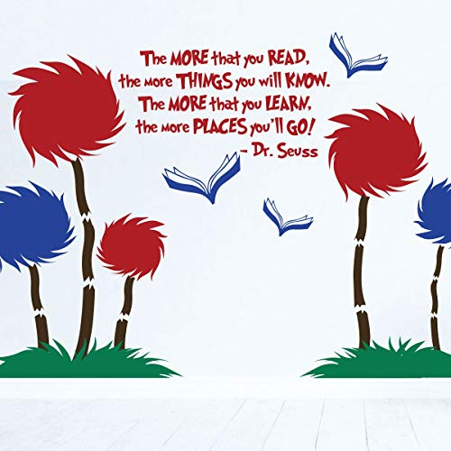 Dr. Seuss Wall Decor Scene | The More That Read Mural w Tufted Trees Classroom Decor | The Lorax Playroom Child Bedroom Nursery Party Decoration | Vinyl Decal Stickers in Blue, Red, Black, 25 Colors -