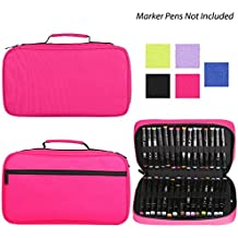 Corasays 60 Slots Marker Pen Case Canvas Organizer Marker Case Assembled Holder for Art Supplies (Deep Pink)
