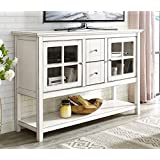 WE Furniture 52' Wood Console Table Buffet TV Stand - Antique White