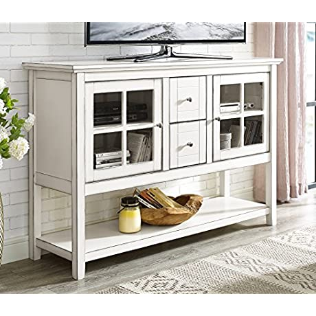 WE Furniture 52 Wood Console Table Buffet TV Stand Antique White