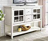 "WE Furniture 52"" Wood Console Table Buffet TV Stand - Antique White"