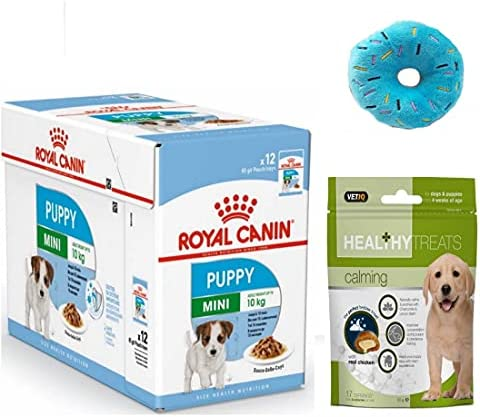 ROYAL CANIN Mini Puppy Wet Dog Food in Gravy Pack 12 x 85g. and Healthy Calming Treats for Puppy and Donut Plush Squeaky Puppy Toy – Dogs Corner