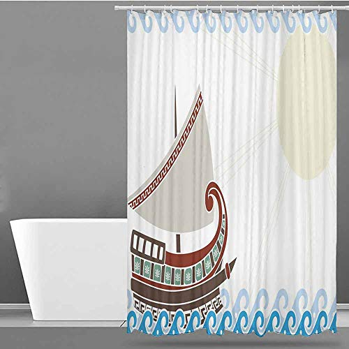 VIVIDX Kids Bathroom Shower Curtain,Toga Party,Ornate Ship Floating on Classic Greek Style Ocean Waves Faded Sun,goof Proof Shower,W48x84L Light Blue Redwood - Classic Neo Bronze Light Two