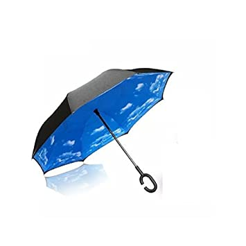 Manos en forma de C innovadora inversa Paraguas libre de la manija paraguas de doble capa