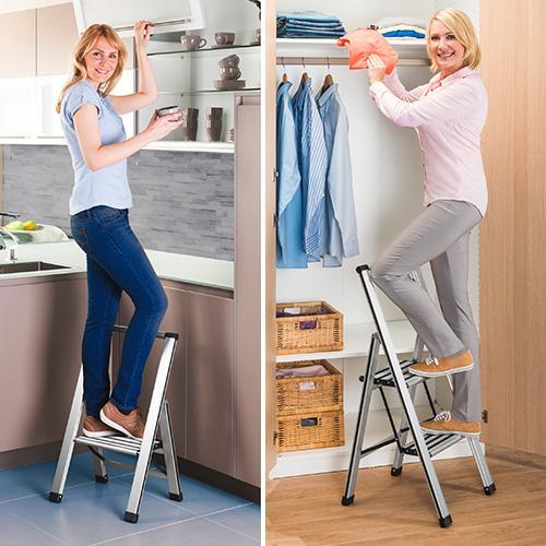 wenko 601011100 alu design klapptrittleiter 2 stufig haushaltsleiter aluminium 43 5 x 103 5. Black Bedroom Furniture Sets. Home Design Ideas