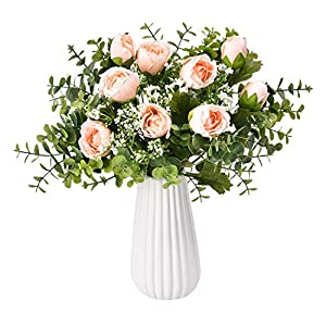 Sunm boutique Artificial Rose Bouquets with Baby's Breath Eucalyptus Leaves, Silky Rose Floral Bouquet, Artificial Silk Flowers Gypsophila Bouquet for Wedding Table Party Office Home Decor, Pack of 3 51