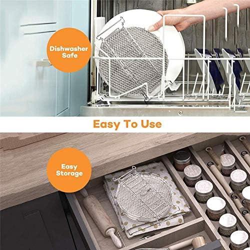 Cuttey Air Fryer Support pour barbecue avec 5 couches empilables en acier inoxydable de qualité alimentaire