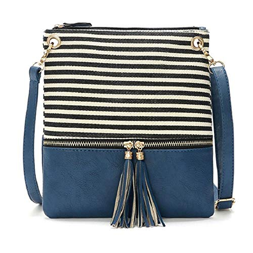 DukeTea Striped Medium Crossbody Bags for Women, Canvas + Faux Leather Crossover Purse for Teen Girls Blue