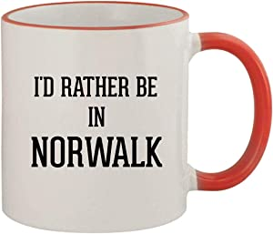 I'd Rather Be In NORWALK - 11oz Ceramic Colored Rim & Handle Coffee Mug, Red