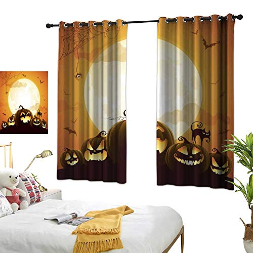 90% Blackout Curtains for Bedroom Halloween Pumpkins Under The Moonlight Premium Washable Ironing W96.4 xL72]()