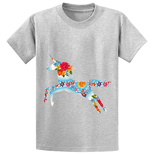 Price comparison product image Eva Kitsch Unicorn Unisex Crew Neck Short Sleeve Shirts Grey