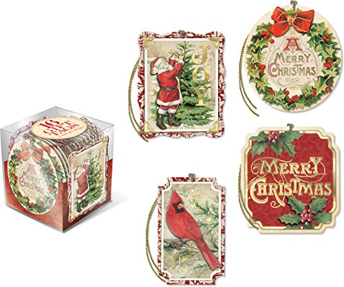 Christmas Postcard Holly - Punch Studio Gift Tag Cube, Postcards & Holly (45307)