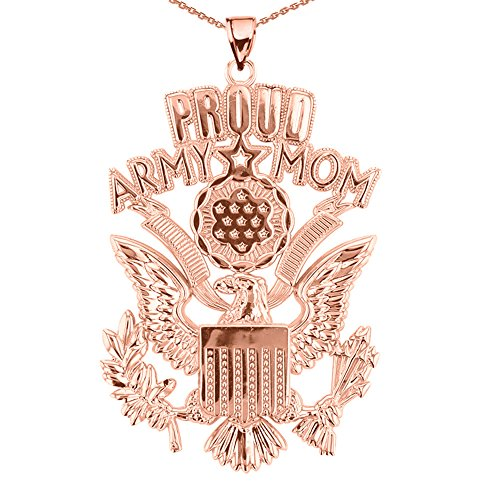 U.S. Proud Army Mom 14k Rose Gold with The Great Seal Pendant Necklace, 20