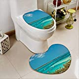 2 Piece Toilet mat Set Sailboat Sailboats and Power Boats ed in Crystal Clear Waters of The Bahamas Toilet Cushion Suit