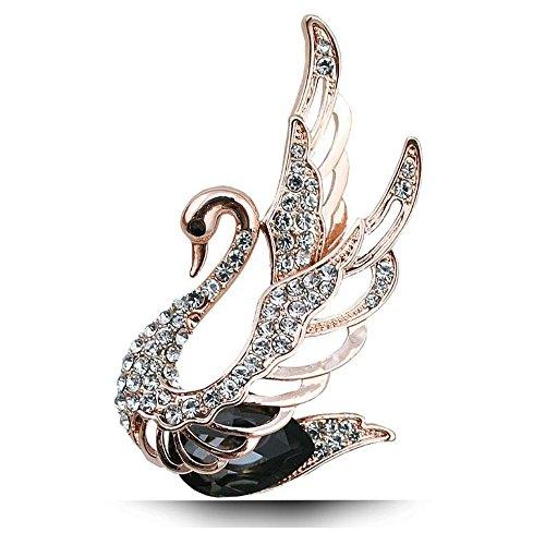 [Luck Wang Women Fashion Unique Temperament Diamond Swan Crystal Brooch Jewelry(Black)] (Homemade Elephant Costume Ears)