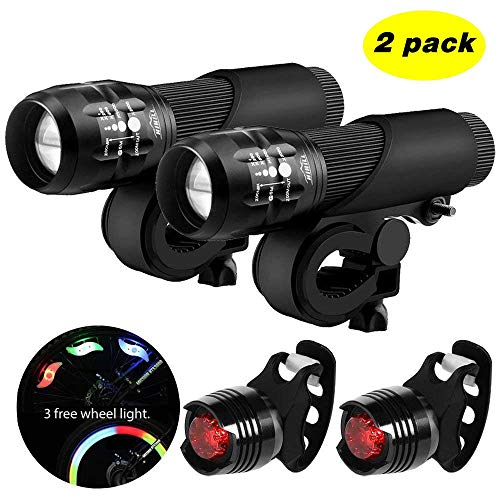 Blinkle Bike Light Bicycle Light with Zoomable Function 3 Modes AA Batteries Powered Safety Bike Light Kit(with 3 Wheel Light /2 taillight Bike Light)(2pack)
