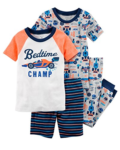 Carter's Boys' 6M-12 4 Piece Multi Racecar Pajama Set 5T Cars Pajamas Pjs