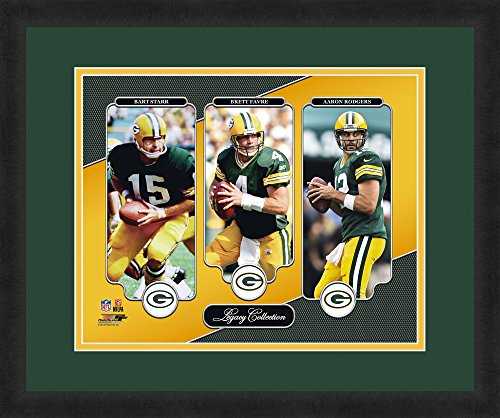 """NFL Green Bay Packers Bart Starr, Brett Favre and Aaron Rodgers, Beautifully Framed and Double Matted, 18"""" x 22"""" Sports Photograph (Green Starr)"""