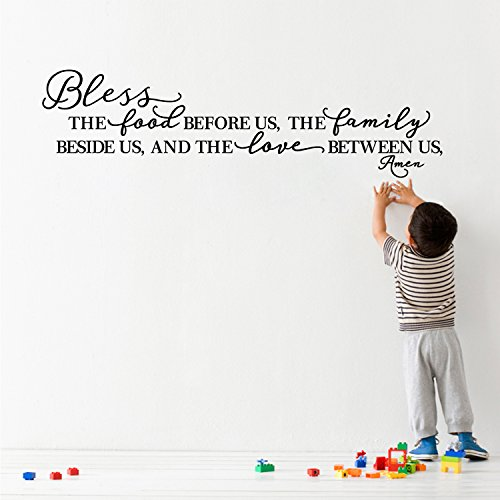 BOLLEPO Kitchen Wall Stickers Home Decor, Dining & Cooking Quote Decal Heart Removable Vinyl Art Decoration (Bless The Food Before Us, The Family Beside Us, and The Love Between Us, Amen) by BOLLEPO (Image #3)