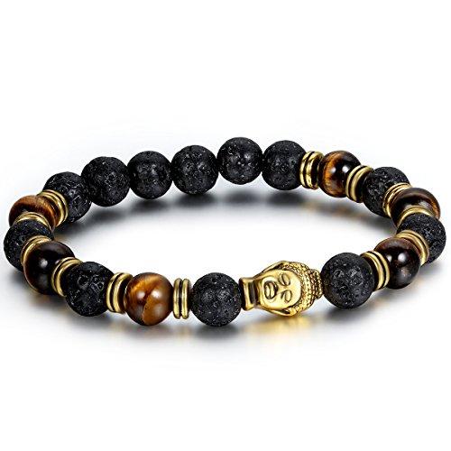 Flongo Mens Biker 8mm Alloy Black Lava Rock Tibetan Gold Buddha Mala Beads Buddhist Prayer Link Bracelet, Fit 7-8 inch Wrist, Diffuser Oil Bracelet