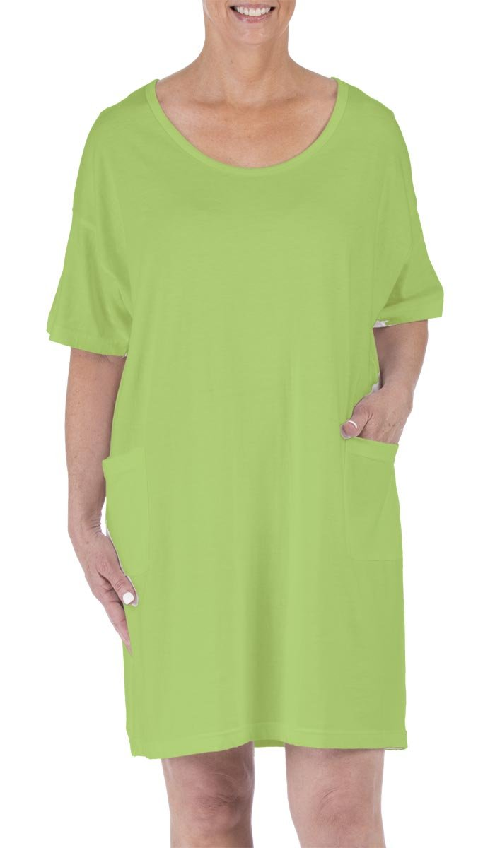 Amy Alder Sleep Nightshirt Nightgown Sleepshirt Nightdress Cover Ups Coverup Cotton Solid (One Size Fits Most, Key Lime)