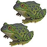 Design Toscano Ribbit the Frog Garden Toad Statues, 9 Inch, Set of Two, Polyresin, Full Color