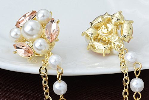 Champagne Tone Crystal Pearl Daisy Flower Brooches Pins with Pearl Chain Tassel Sweater Guard Clip Pin by OBONNIE (Image #5)