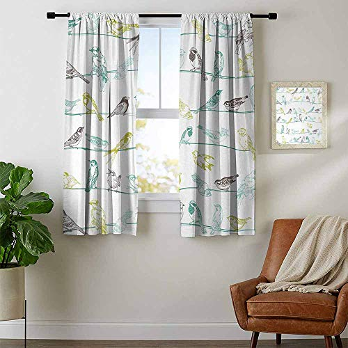 - youpinnong Birds, Thermal Insulating Blackout Curtain, Various Type of Birds Sitting and Chirping on Wires Musical Creatures Print, for Living Room, W72 x L72 Inch Light Green Brown