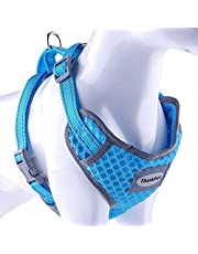 ThinkPet Reflective Breathable Soft Air Mesh No Pull Puppy Choke Free Over Head Vest Ventilation Harness for Puppy Small Medium Dogs