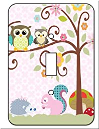 Owl , Squirrel Porcupine Tree Top Friends Single Toggle Switch Wall Plate Cover Switchplate
