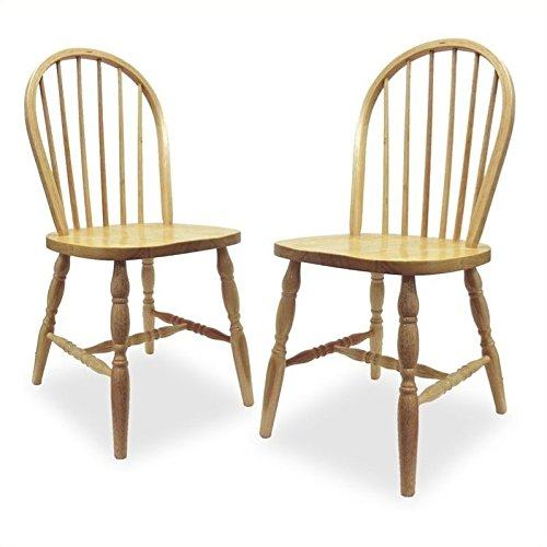 winsome wood windsor chair with natural finish, set of 2