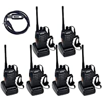 BaoFeng BF-888S (Pack of 6) Handheld 5W Two Way Ham Radio with Earpiece + USB Programming Cable (1 PC)